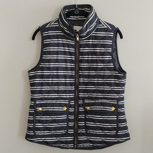 Kenar Navy Blue White Striped Quilted Vest M